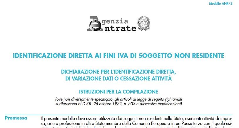 Informationsblatt der agenziaentrate.gov.it zur Umsatzsteuer Registrierung in Italien
