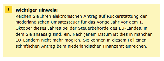 Antrag auf Rückerstattung der niederländischen Umsatzsteuer