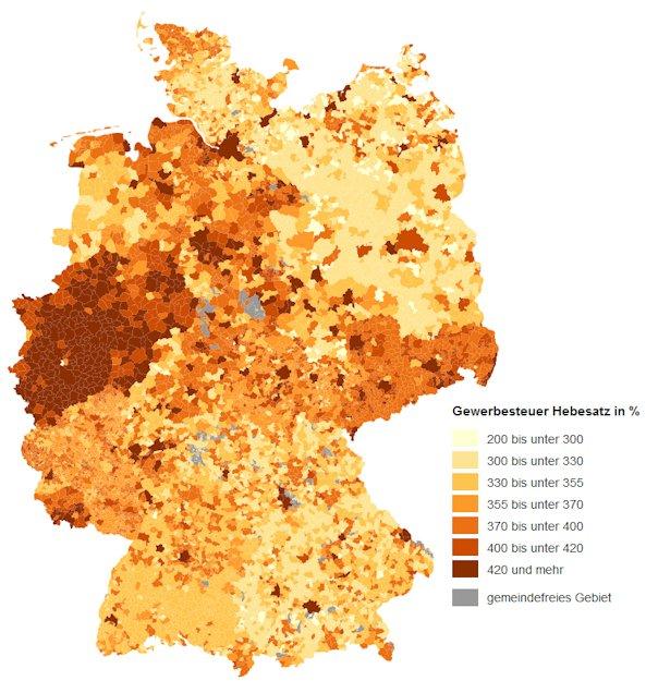 Verteilung der Höhe der Gewerbesteuerhebesätze nach Gemeinden