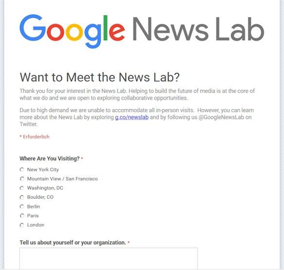 Hier können sich Journalisten für die Teilnahme für Google News Lab bewerben