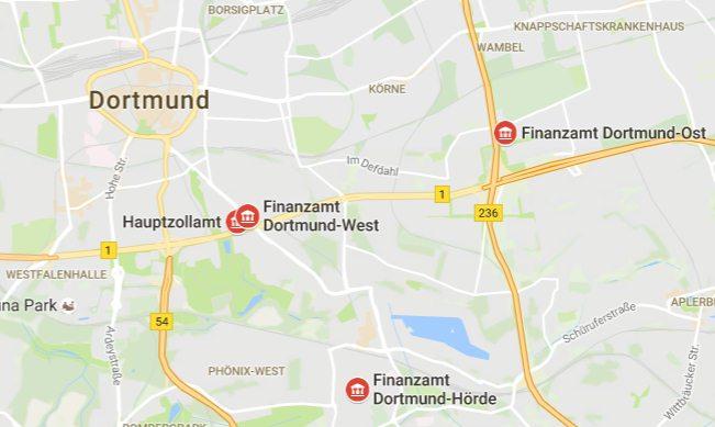 Lage der Dortmunder Finanzämter