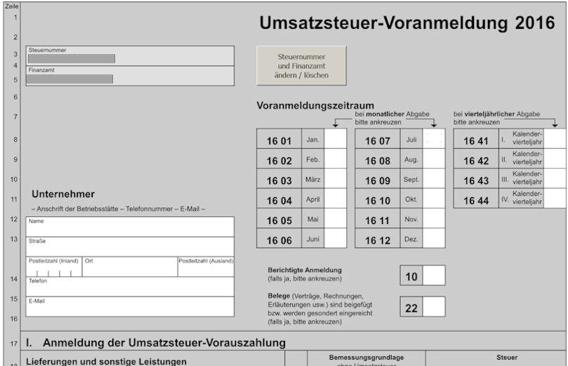 Das Formular zur Umsatzsteuervoranmeldung bei Elster