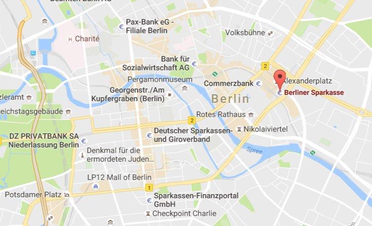 Hier befindet sich die Hauptgeschäftsstelle der Berliner Sparkasse: Alexanderplatz 2, 10178 Berlin