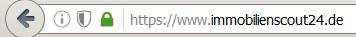 Das grüne Schloss in der Browserzeile zeigt die sichere Datenübertragung der Immoscout Webseite an