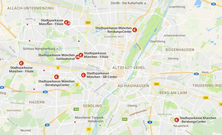 Karte zur Übersicht der Zweigstellen und Filialen der SSKM
