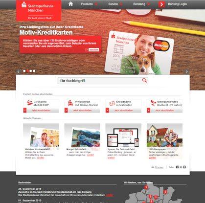 Der Webauftritt der Stadtsparkasse München