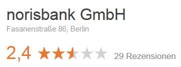 Bewertung der norisbank filiale in Berlin Fasanenstrasse bei Google mit 2,4