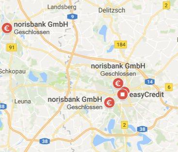 Die geschlossenen norisbank Filialen in Leipzig auf Google Maps