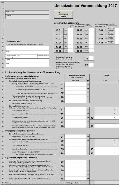 Formular umsatzsteuervoranmeldung 2020