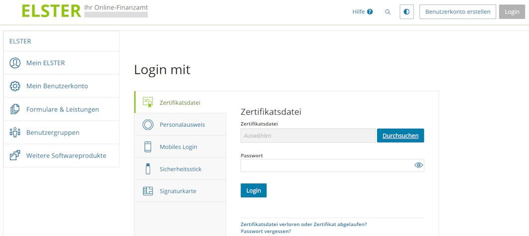Mein ELSTER Webseite Verwaltungsoberfläche und Anmeldung bzw. Login