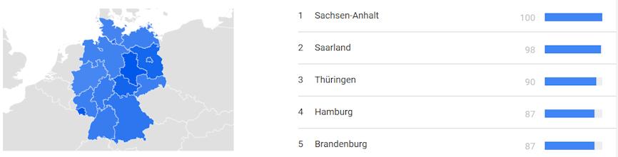Google Trends zeigt auch wie das Suchinteresse regional variiert