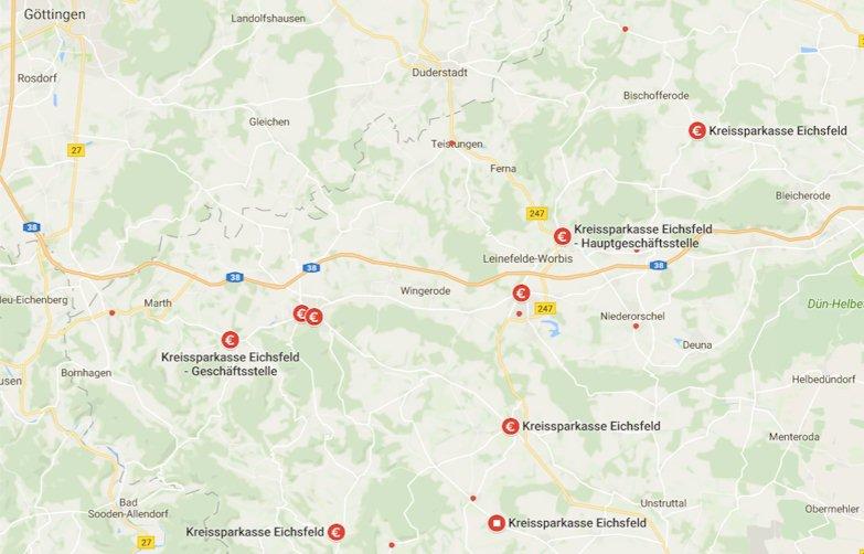 Hier finden Sie die Filialen der Kreissparkasse Eichsfeld