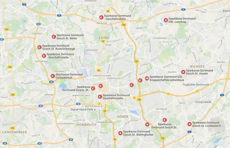 Karte zur Übersicht der Zweigstellen und Filialen der Sparkasse Dortmund