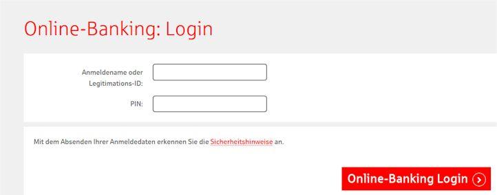 Die gesicherte Login Seite zum Onlinebanking
