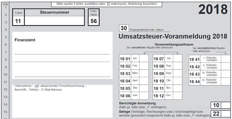 Umsatzsteuervoranmeldung Formular von Elster 2018 Header