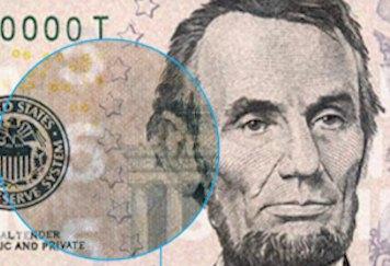 5 Dollar Banknote Wasserzeichen als weiteres Sicherheitsmerkmal