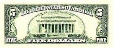 5 Dollar Schein Rückseite mit Lincoln Memorial