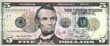Vorderseite des 5 Dollar Scheins mit Bild von Abraham Lincoln